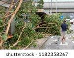 hong kong  sep 17  2018  fallen ... | Shutterstock . vector #1182358267