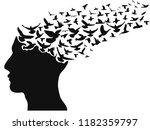 birds flying human head  | Shutterstock .eps vector #1182359797
