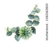 watercolor wreath with...   Shutterstock . vector #1182362824