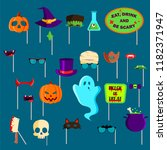 halloween photo booth props set ... | Shutterstock .eps vector #1182371947