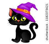 cute cartoon halloween black... | Shutterstock .eps vector #1182373621