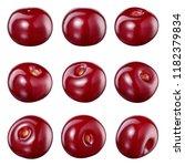 cherry isolated. cherry on... | Shutterstock . vector #1182379834