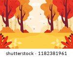 Autumn Forest Background. Flat...