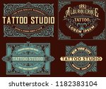 set of vintage templates with... | Shutterstock .eps vector #1182383104