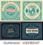 set of 4 vintage labels | Shutterstock .eps vector #1182383107