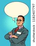 confident businessman says.... | Shutterstock .eps vector #1182407797