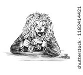 angry lion in a suit playing... | Shutterstock .eps vector #1182414421