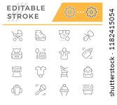 set line icons of newborn | Shutterstock .eps vector #1182415054
