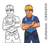 working builder in overalls | Shutterstock .eps vector #1182416914