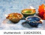 happy diwali   colorful clay... | Shutterstock . vector #1182420301