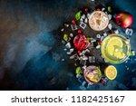 various autumn winter seasonal... | Shutterstock . vector #1182425167