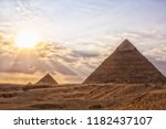 egypt. cairo   great pyramids... | Shutterstock . vector #1182437107