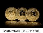 bitcoins coin on black... | Shutterstock . vector #1182445201