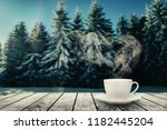 hot coffee on the table on a... | Shutterstock . vector #1182445204