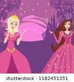 beautiful fairy with magic wand ... | Shutterstock . vector #1182451351
