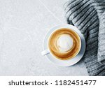cup of cappuccino coffee on... | Shutterstock . vector #1182451477