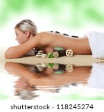 spa woman.  stone massage... | Shutterstock . vector #118245274