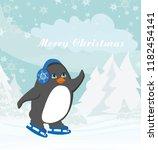 funny ice skating penguin  | Shutterstock .eps vector #1182454141