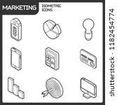 marketing outline isometric... | Shutterstock . vector #1182454774