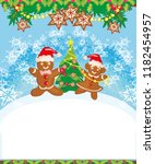 christmas card with a... | Shutterstock .eps vector #1182454957
