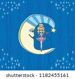 fairy on moon at night | Shutterstock .eps vector #1182455161