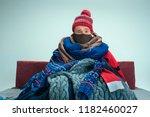 bearded sick man with flue... | Shutterstock . vector #1182460027