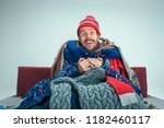 bearded sick happy man with... | Shutterstock . vector #1182460117