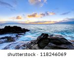 Island Maui tropical cliff coast line with ocean. Hawaii. - stock photo