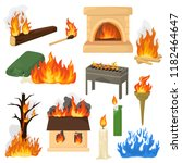 fire flame vector fired flaming ... | Shutterstock .eps vector #1182464647