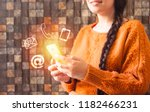 business woman with braid hair... | Shutterstock . vector #1182466231