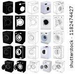 set of washing machine   Shutterstock .eps vector #1182474427