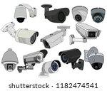 set of cctv camera | Shutterstock .eps vector #1182474541