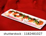 antipasti on square plate.... | Shutterstock . vector #1182481027