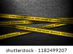black wall with police line in... | Shutterstock .eps vector #1182499207