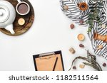 opened diary with pen on the... | Shutterstock . vector #1182511564