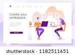 comfortable working space ... | Shutterstock .eps vector #1182511651