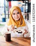 homemade brownies with dark... | Shutterstock . vector #1182523444