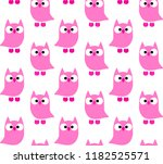 owls pattern pink color  cute... | Shutterstock .eps vector #1182525571