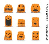 various pumpkins shape vector... | Shutterstock .eps vector #1182553477