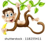 A Cute Monkey Swinging From...