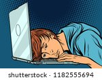 tired man at the computer.... | Shutterstock .eps vector #1182555694