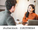 young beautiful asian business... | Shutterstock . vector #1182558064