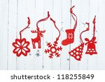 Red Felt Christmas Ornaments O...