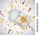 open 3d realistic gift box with ... | Shutterstock .eps vector #1182560221