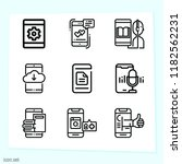 set of 9 smartphone outline... | Shutterstock . vector #1182562231