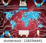 cyber terrorism online... | Shutterstock . vector #1182566641