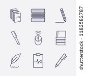 outline 9 writing icon set.... | Shutterstock .eps vector #1182582787