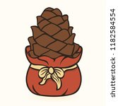 cone in red santa's bag with... | Shutterstock .eps vector #1182584554
