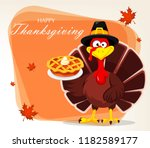 thanksgiving greeting card with ...   Shutterstock . vector #1182589177