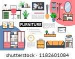 flat furniture infographic... | Shutterstock .eps vector #1182601084